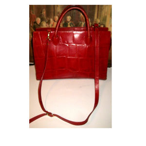 Vtg Italian Large Red Leather Handbag-Crossbody